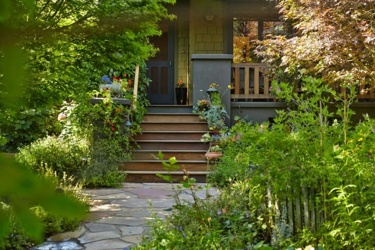 There's no lawn in front of this Mill Valley home. Instead, greeting visitors is a garden of hydrangeas, lemon trees, fragrant roses, Japanese maples, columbine, wisteria, and herbs. See Lawn Begone: 7 Ideas for Front Garden Landscapes. Photograph by Tom Kubik for Gardenista, from Garden Visit: The Hobbit Land Next Door.