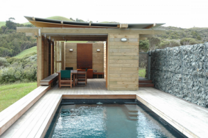 Gabion walls Herbst Architects New Zealand pool house ; Gardenista