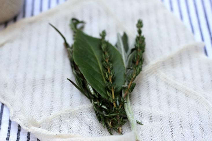 herbs on top of cheesecloth