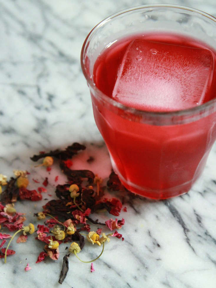 hibiscus rose goddess tea with ice cube