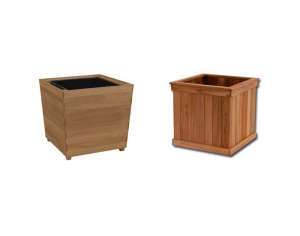 High Low Teak planter boxes ; Gardenista