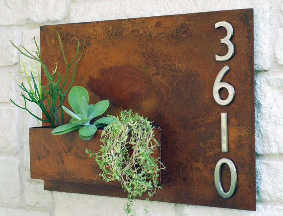 Horizontal Hanging Planter And Metal Address Plaque