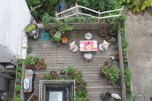 Marie Viljoen Harlem terrace deck garden ; Gardenista