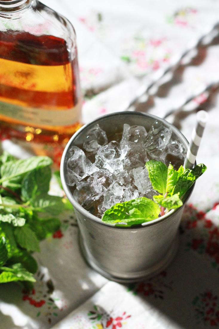 mint julep in julep cup with straw