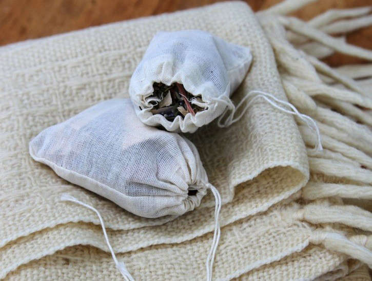 moth sachets and wool blanket