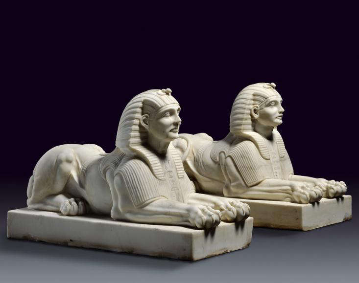 pair of sphinxes for garden