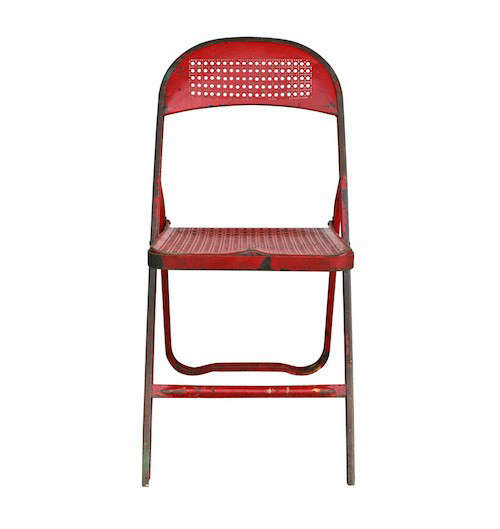 Charming Red Perforated Metal Folding Chair C1940s Gardenista
