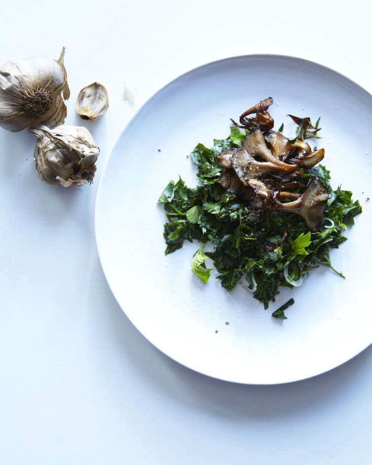 sauteed-hen-of-the- woods-with-fermented-black-garlic-over-chopped-parsley-salad-with-bergamont-lemon_and-olive-oil