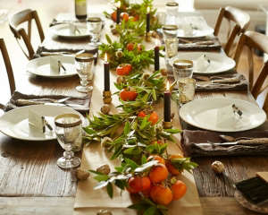 thanksgiving tabletop garden boughs bay and persimmons l Gardenista