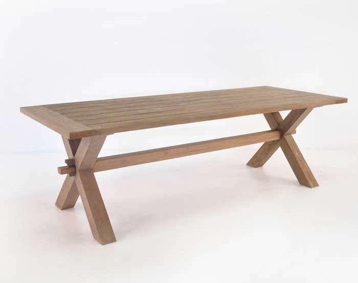 Teak Cross Leg Trestle Picnic Style Dining Table Gardenista
