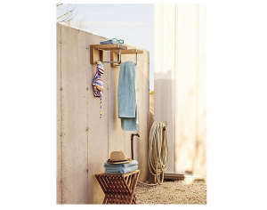 teak folding stool DWR ; Gardenista
