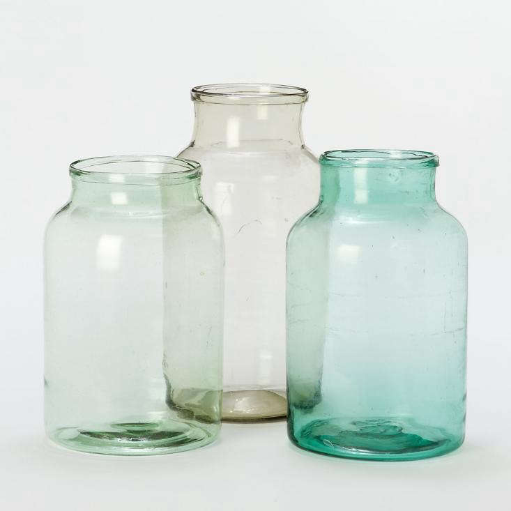 vintage colored glass bottle vases