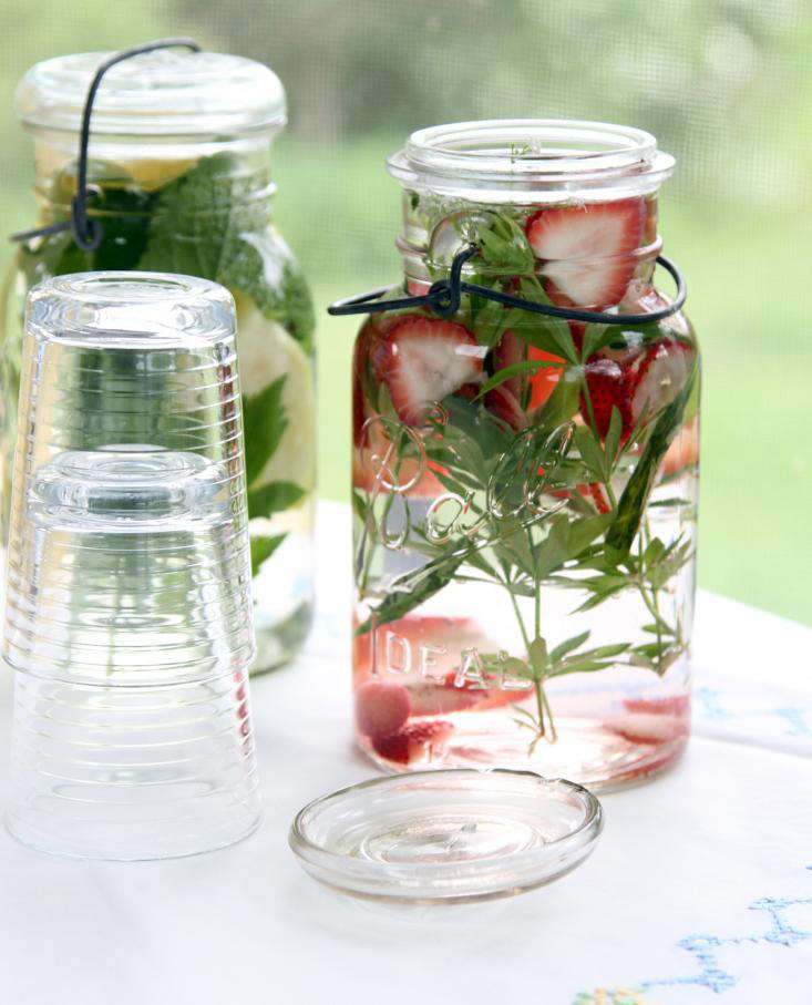herbal waters with glasses