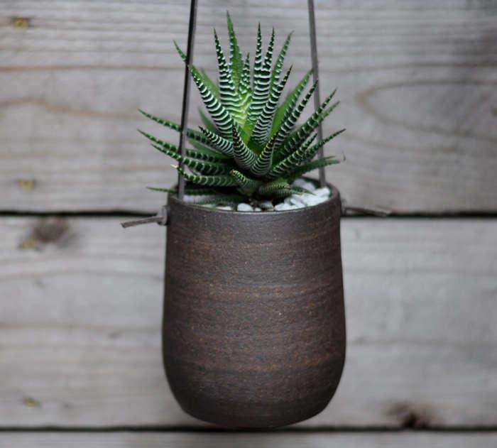 Modern Simple Dark Brown Hanging Planter: Gardenista