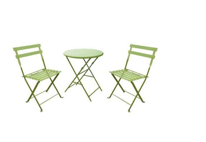 3 Piece Folding Metal Patio Bistro Furniture Set Gardenista