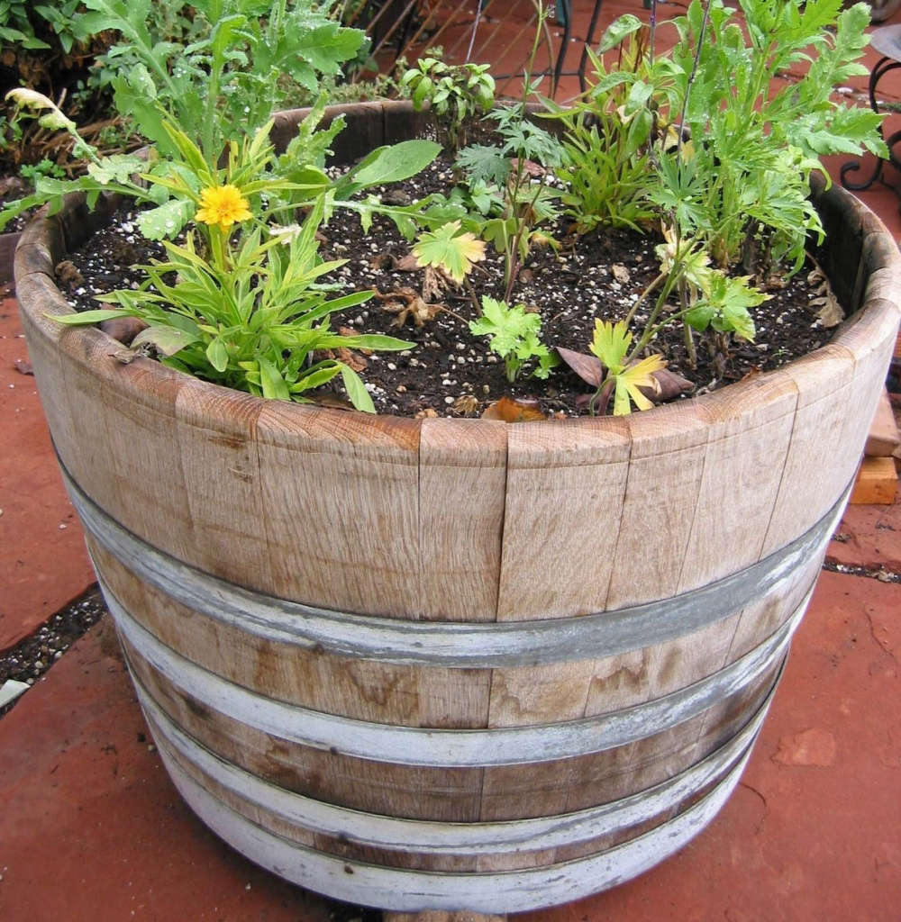 half wine barrel planter gardenista