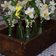 wooden box of posies