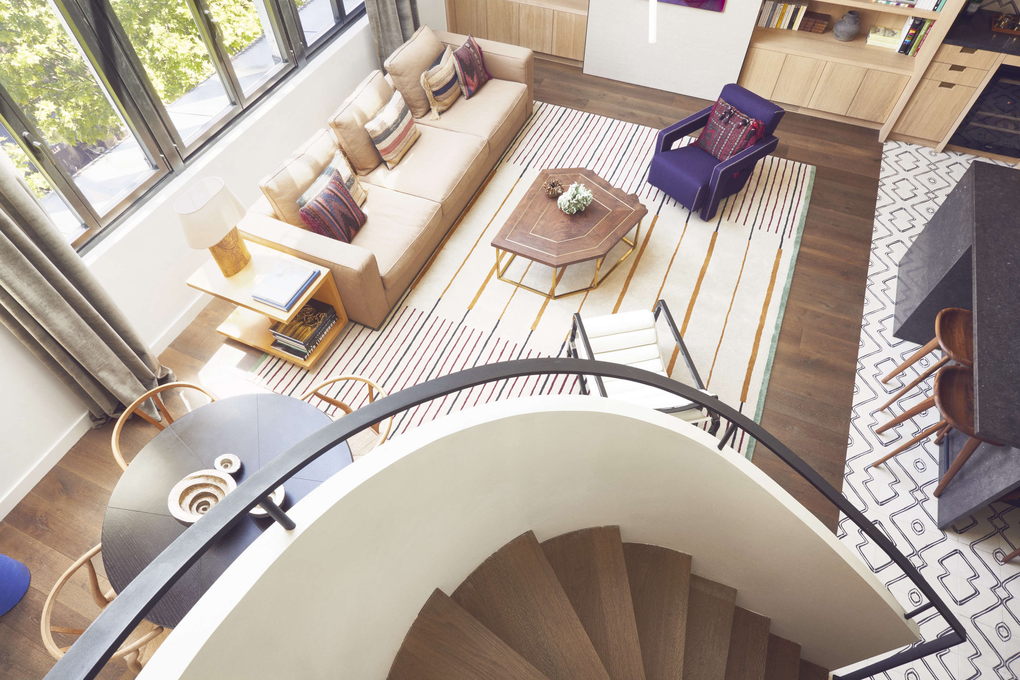 Curved Stair In A Paris Pied Terre Right Bank Artists Garret