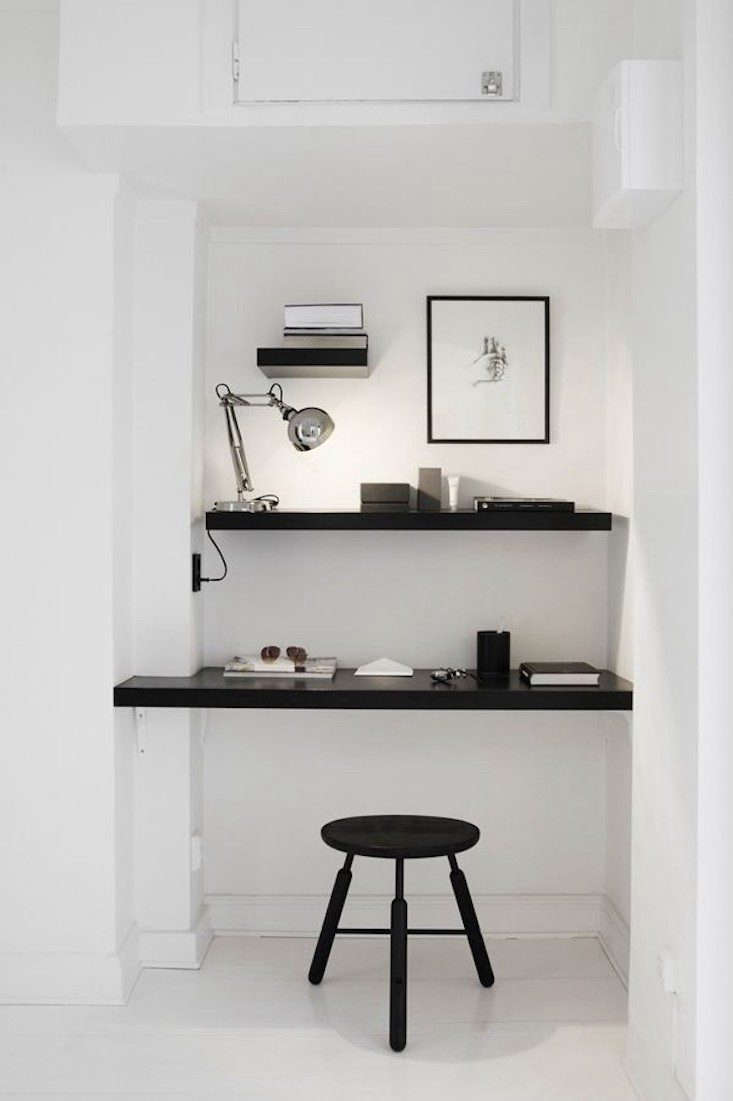 a couple of shelves inserted in an unused corner create an instant workspace in 18