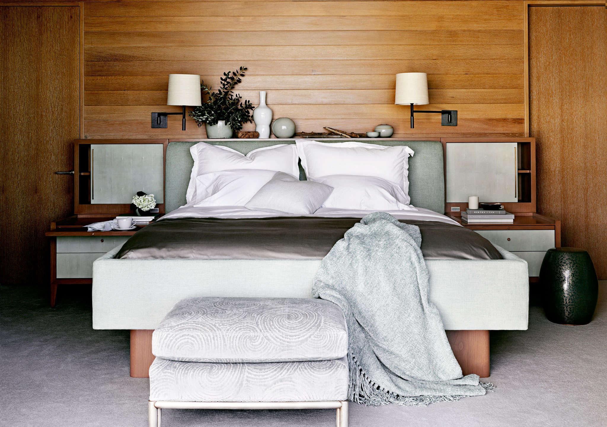 Wood paneled romantic bedroom designed by Barbara Barry | Remodelista