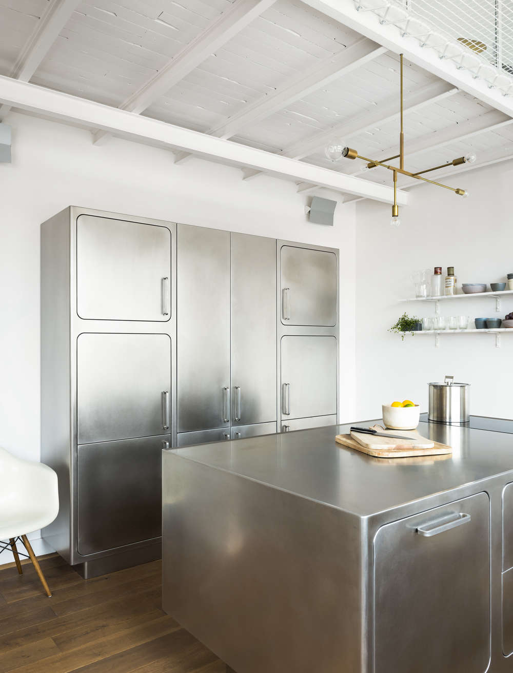 kitchen of the week an all stainless design in a paris loft albimis all stainless steel kitchen in a paris loft by festen architecture remodelista