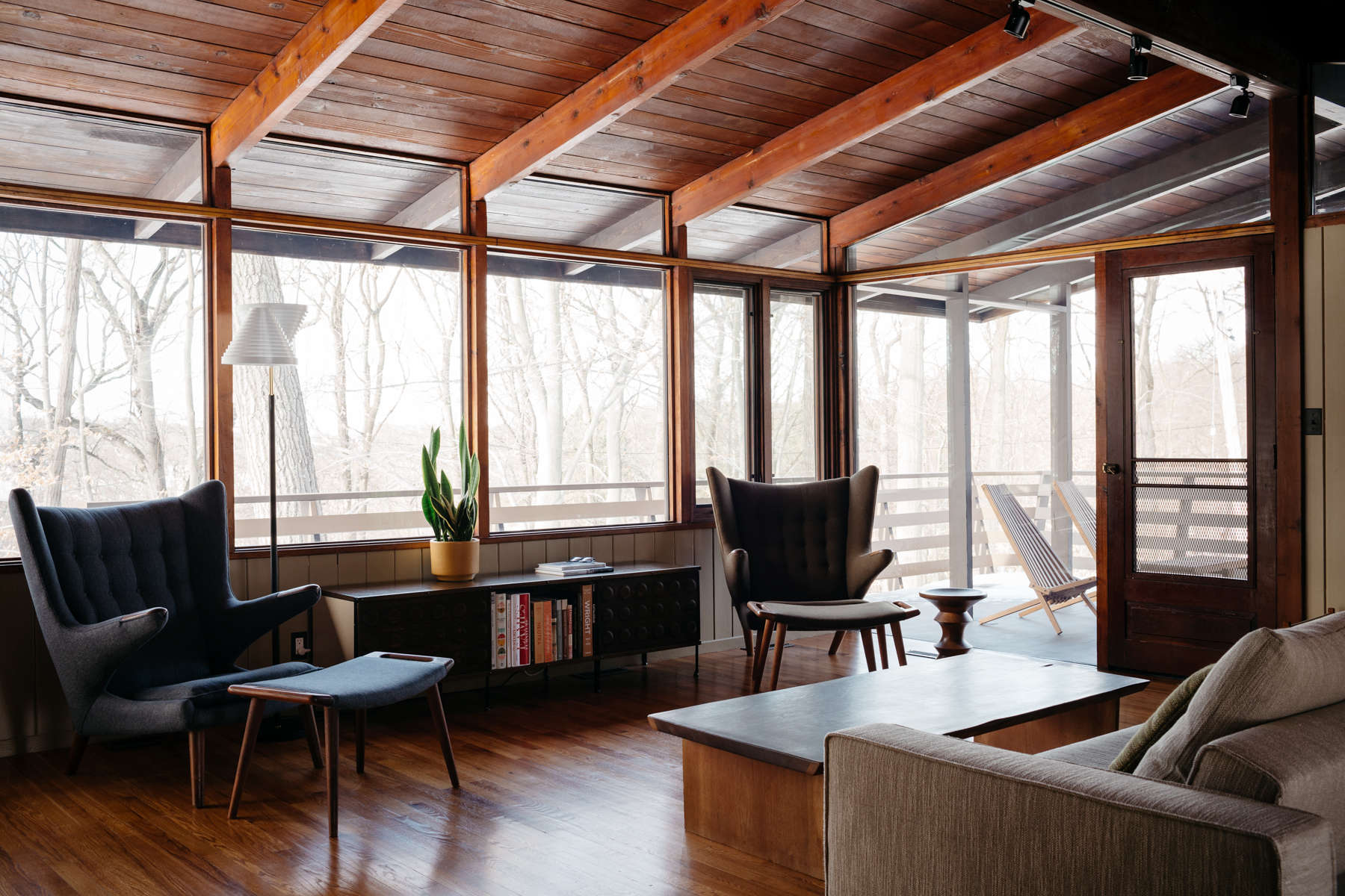 The living room at the wood house carla and niall maher s midcentury
