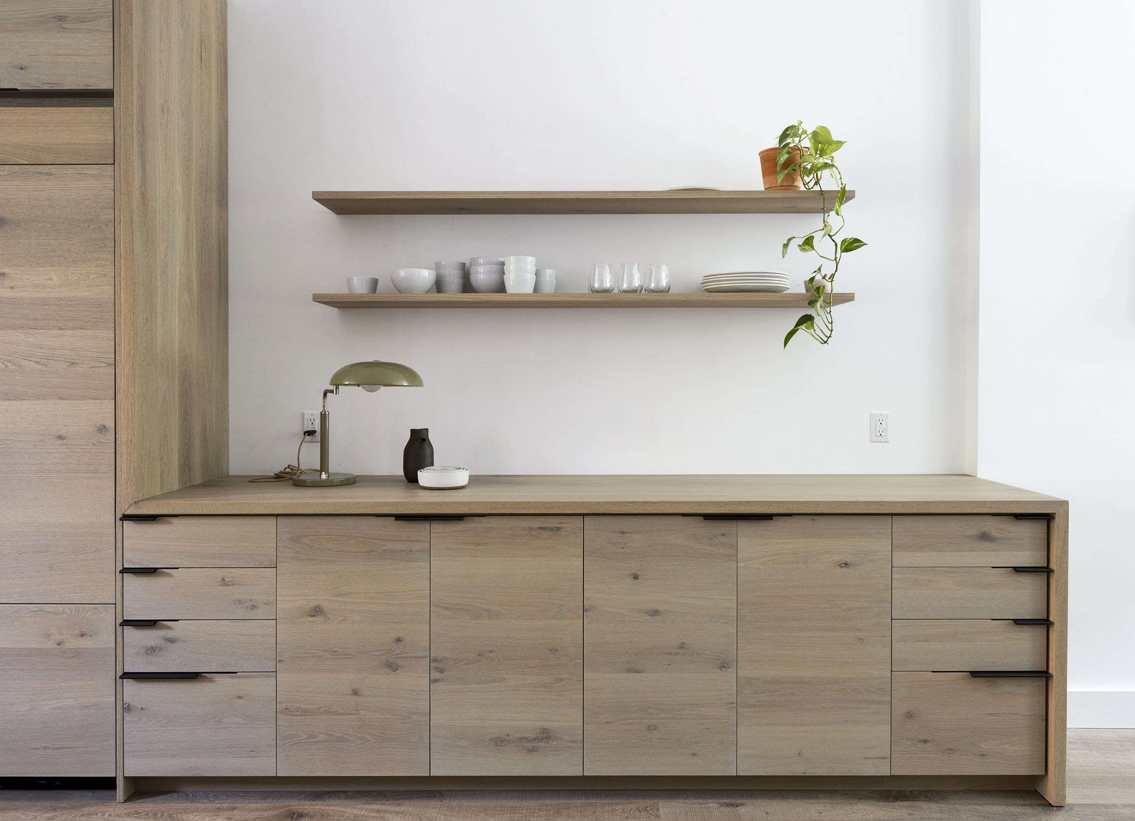Brooklyn dining area with custom oak cabinets, design by Workstead, Matthew Williams photo | Remodelista