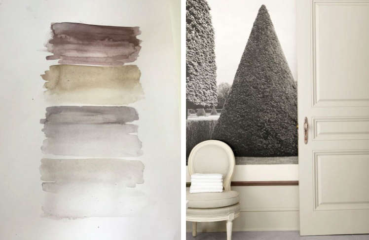 Designed Barbara Barry watercolor and detail of her LA house | Remodelista