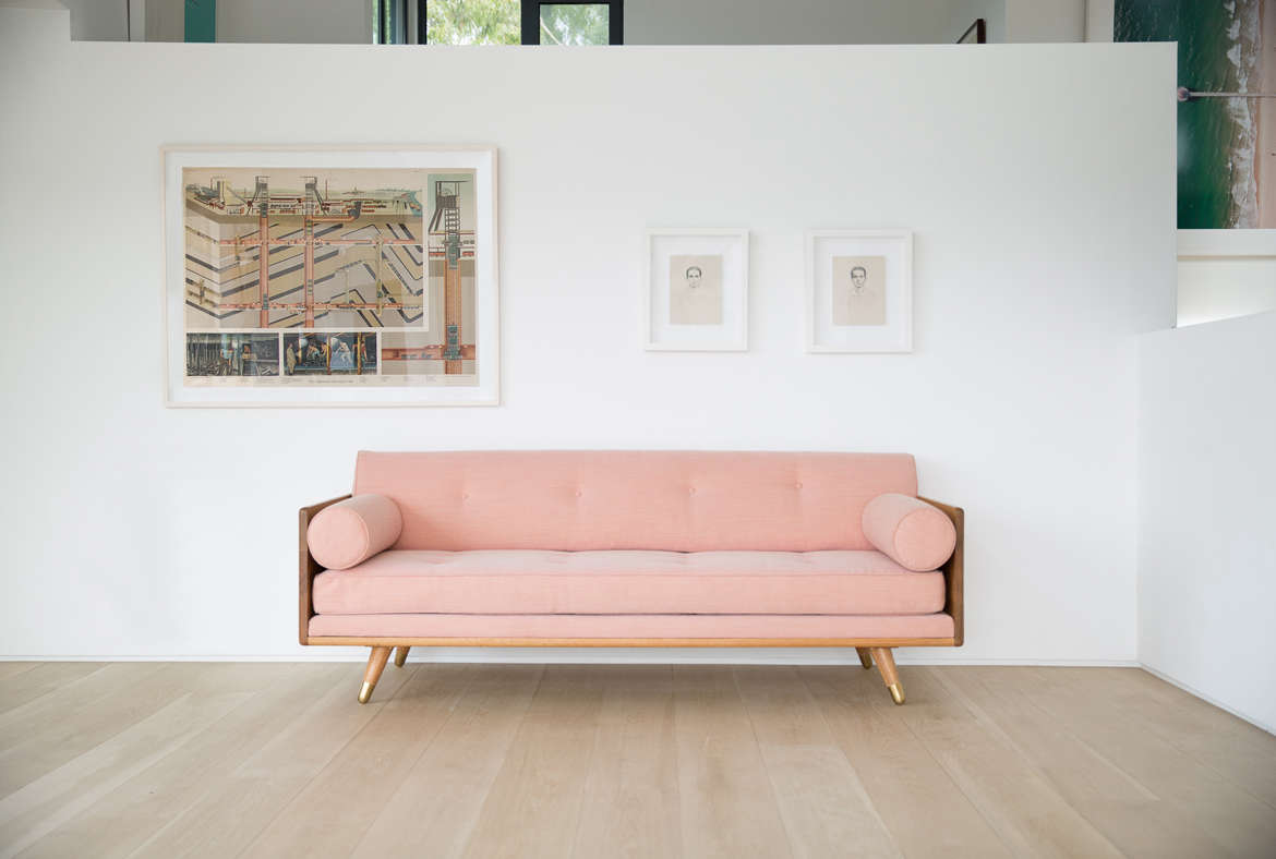 10 easy pieces the pink sofa remodelista for Living room no couch