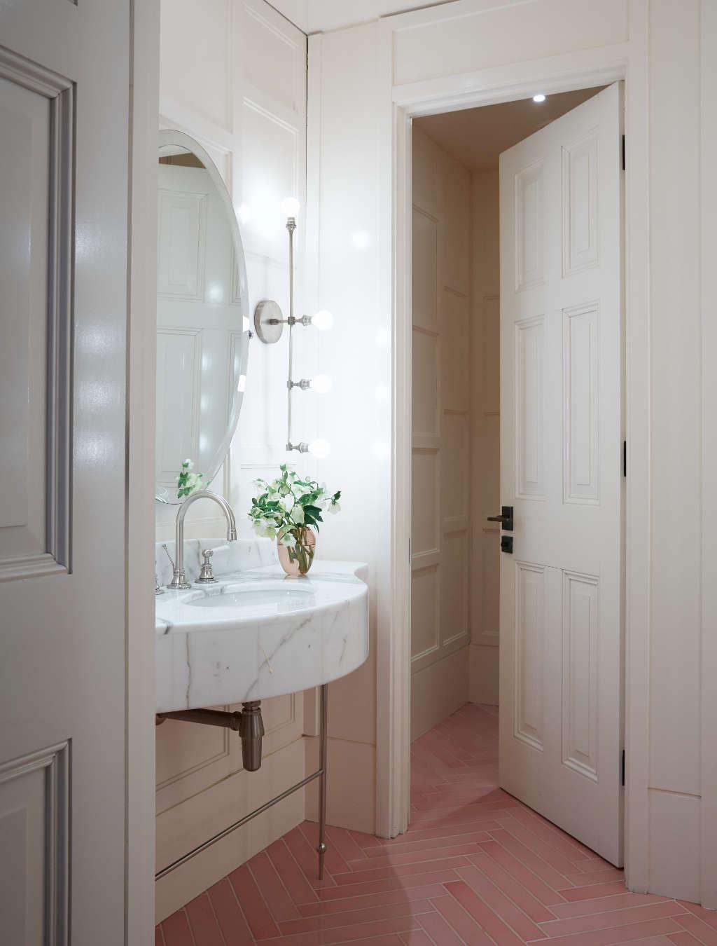Steal this look pink herringbone bath at spring in london for Spring bathrooms