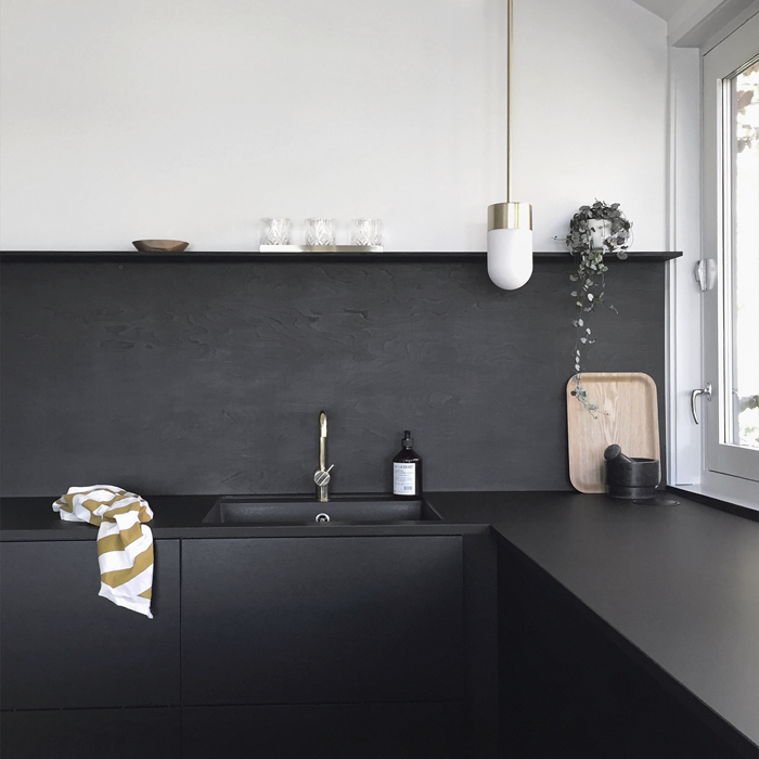 Kitchen upgrade the low cost diy black backsplash for Scandinavian kitchen backsplash
