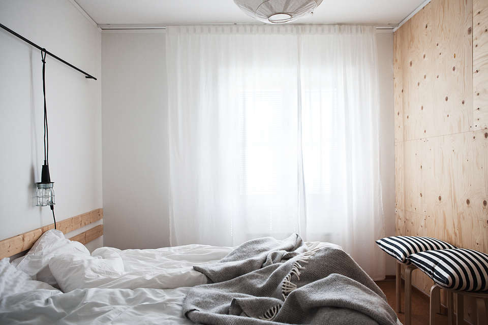Scandi design in a guest room at Sågverket, a stylish country hostel and retreat center on the coast near Härnösand in Northern Sweden | Remodelista