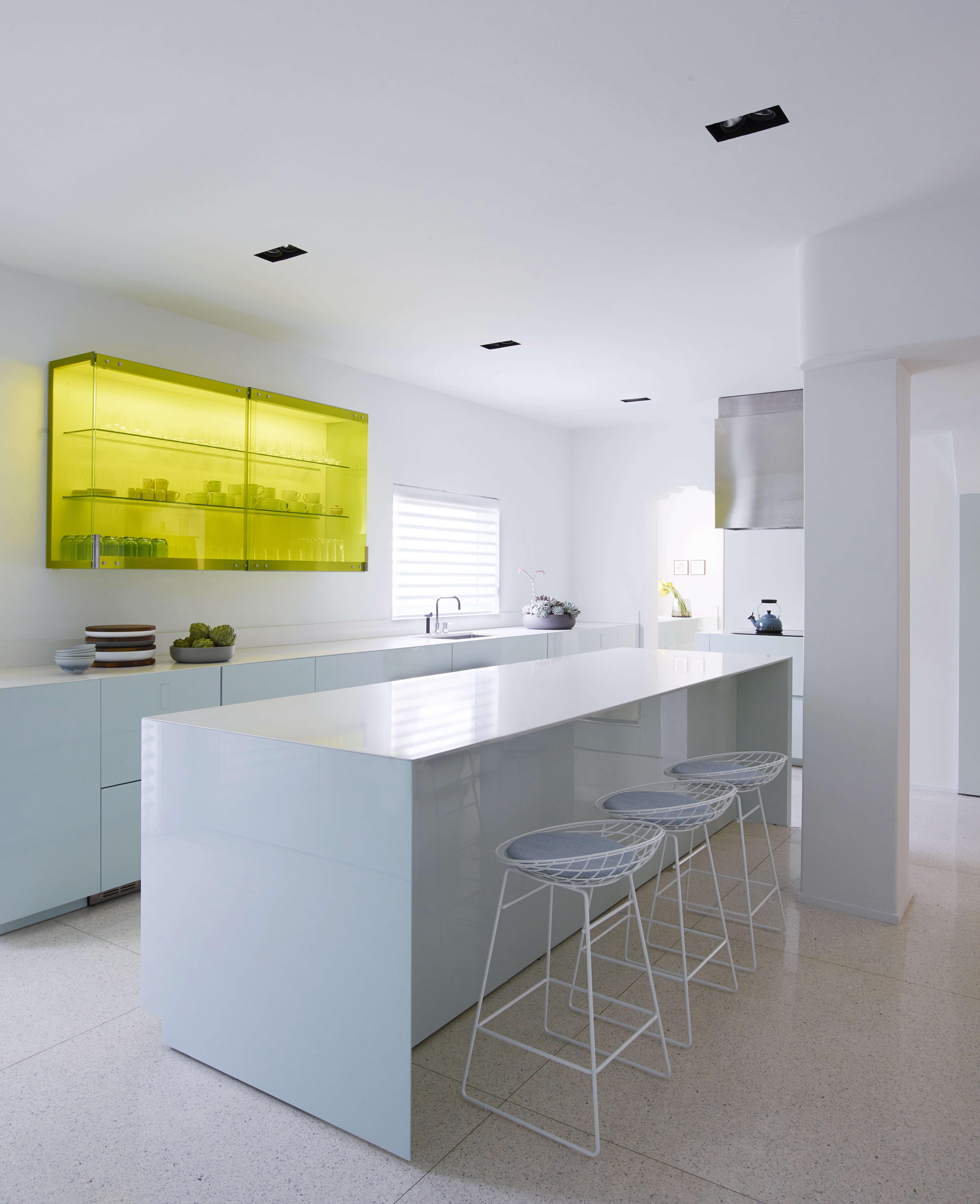 minimalist kitchen in a revived miami villa belonging to furniture dealer stephan weishaupt