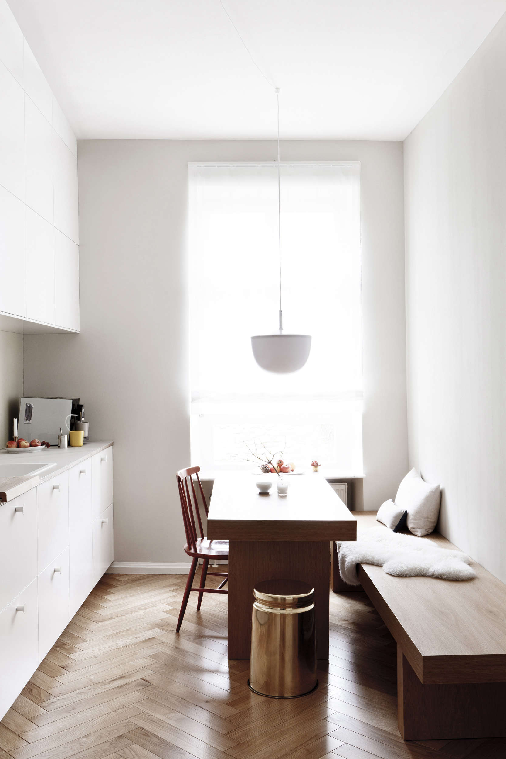 Earthly and ethereal an apartment makeover by studio oink Studio apartment kitchen