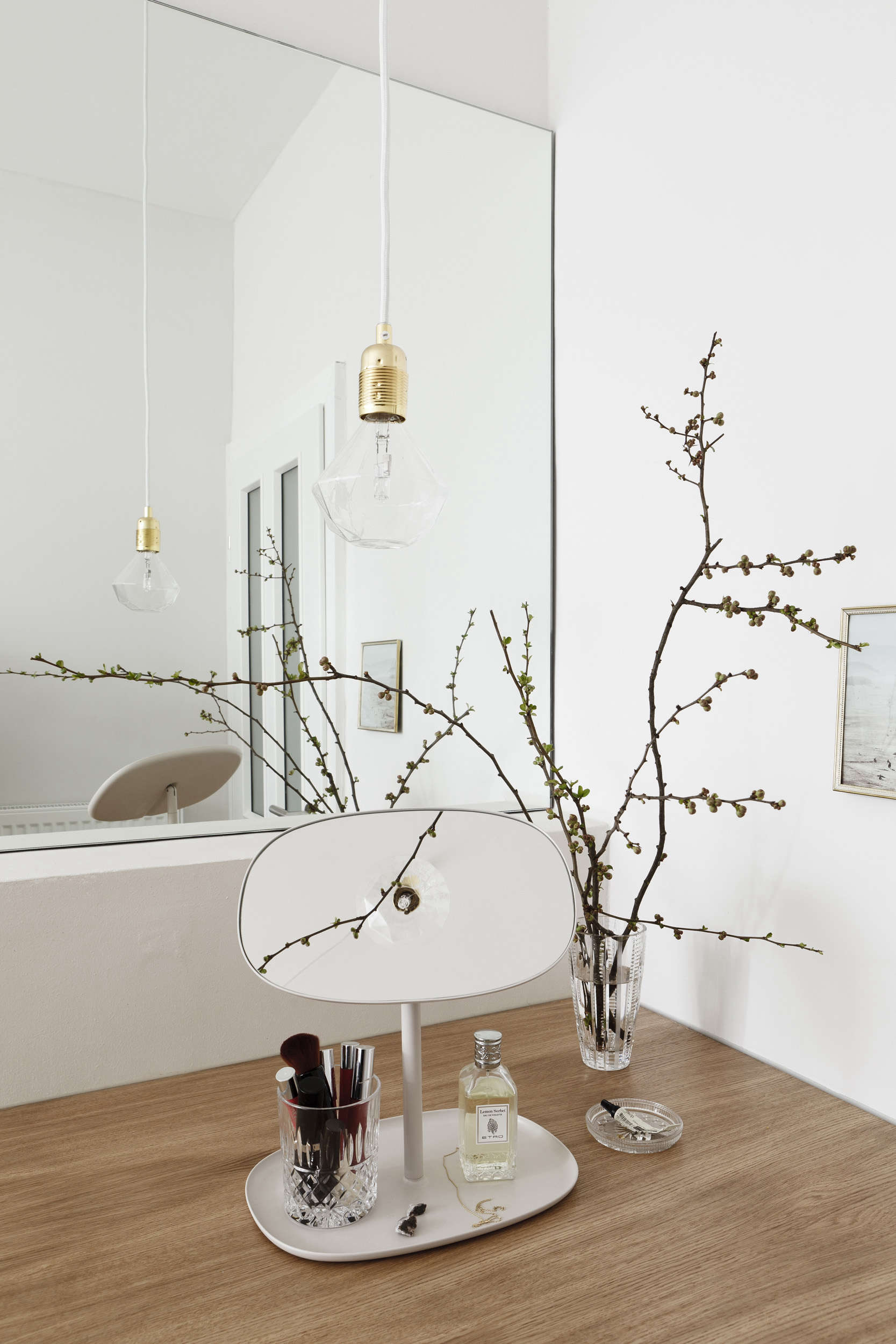 Bathroom details in a luxe-minimalist apartment remodel by Studio Oink in Mainz, Germany | Remodelista