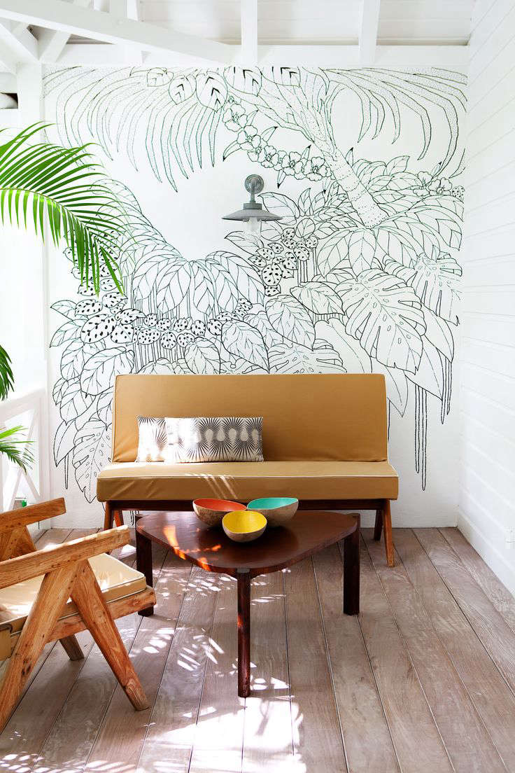 Trend Alert Tropical Prints Made Modern Remodelista Sourcebook Pro Design Terry Rak Tv White Glossy Sonoma Oak Above Palm Print Curtains Are In The Lombardi House Los Angeles