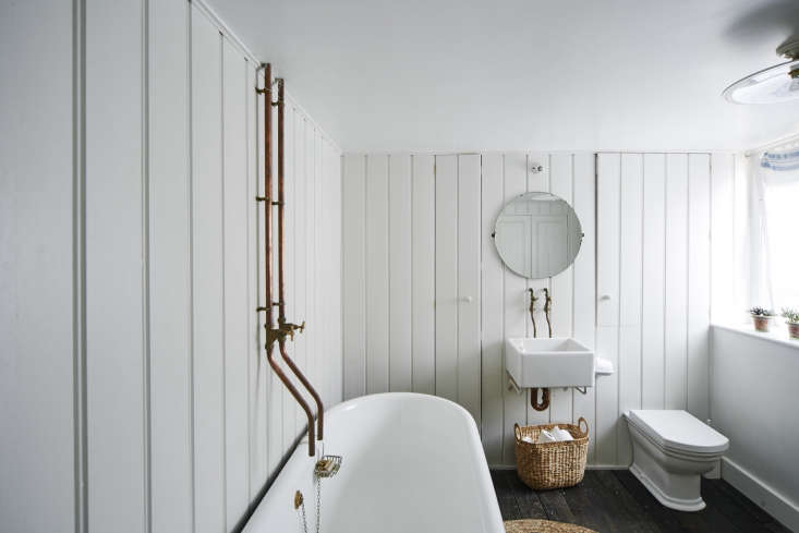 Photograph by Matt Lincoln from A Historic House Reimagined for a Modern Family in Stroud, England (plus a smart work-around for the plumbing issue: mount the tub closer to the wall).