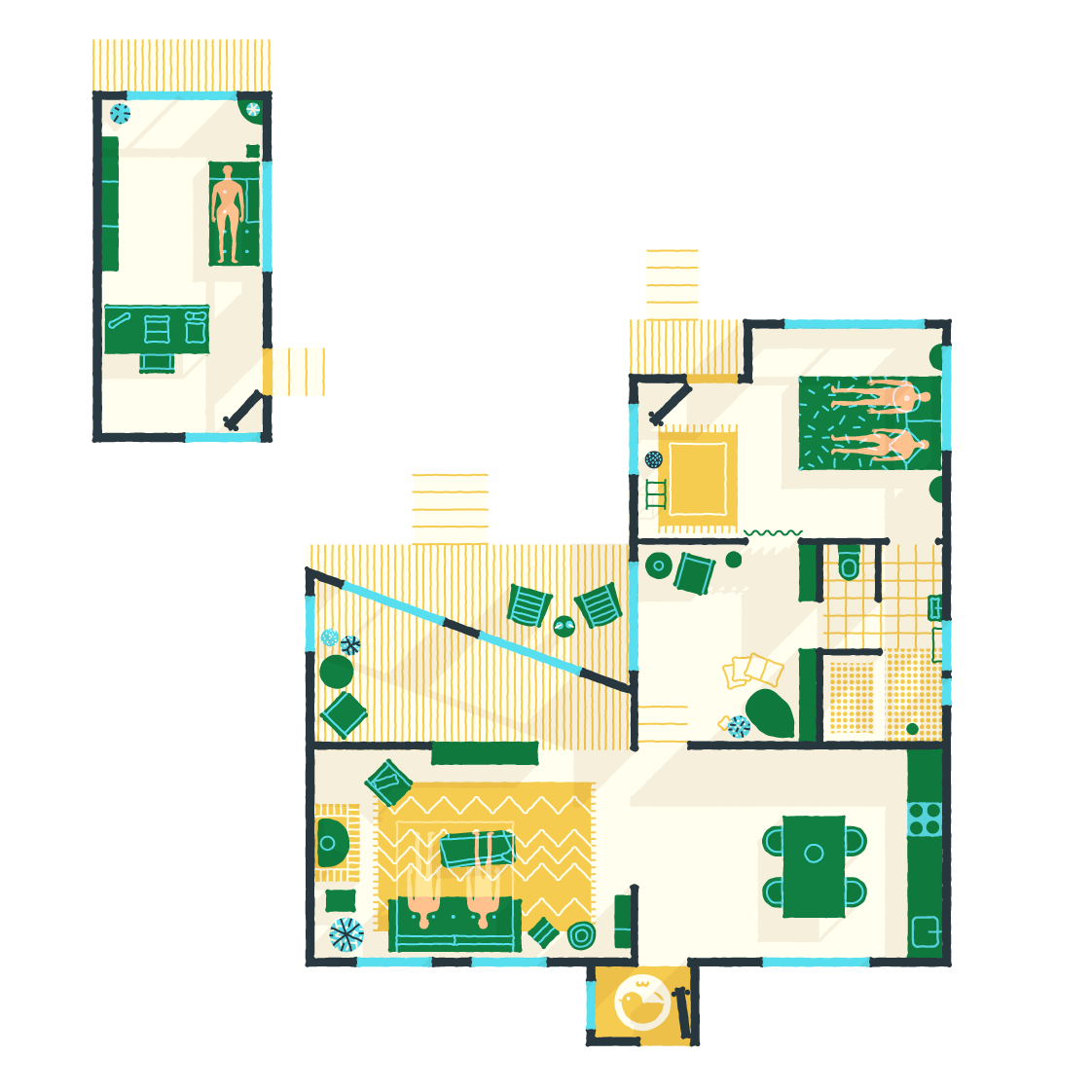 An illustrated floor plan of Jackie Winter Gardens, a guest house and artist residency in Australia | Remodelista