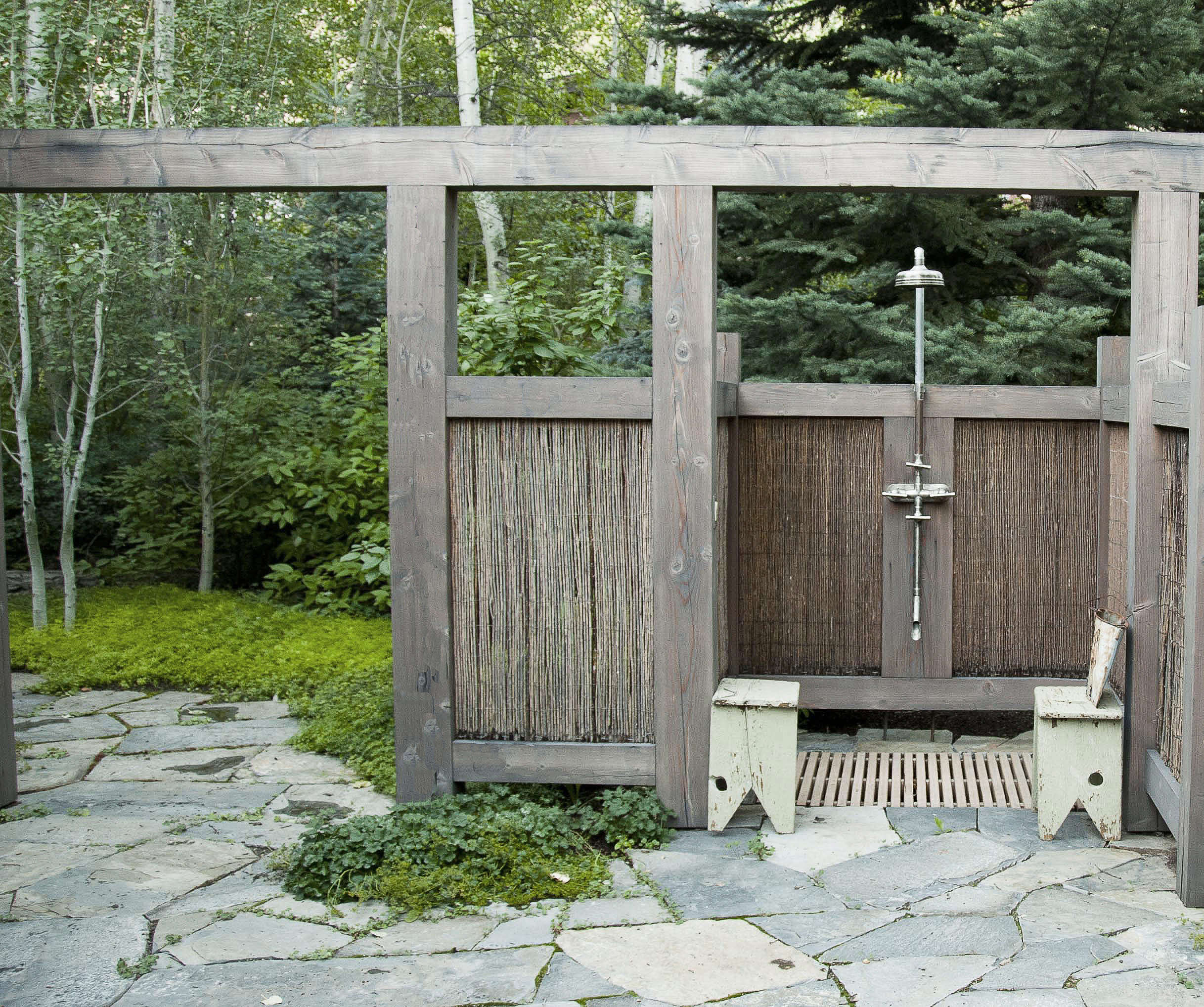 Rustic Pine Toung And Groove Interior Design: Private Idaho: A Rustic Outdoor Shower In Sun Valley