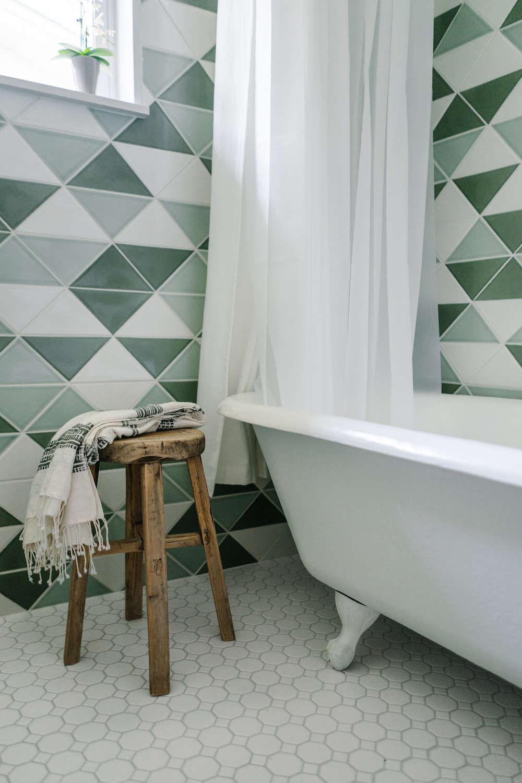 Before After Green Tiled Bathroom Conversion Remodelista