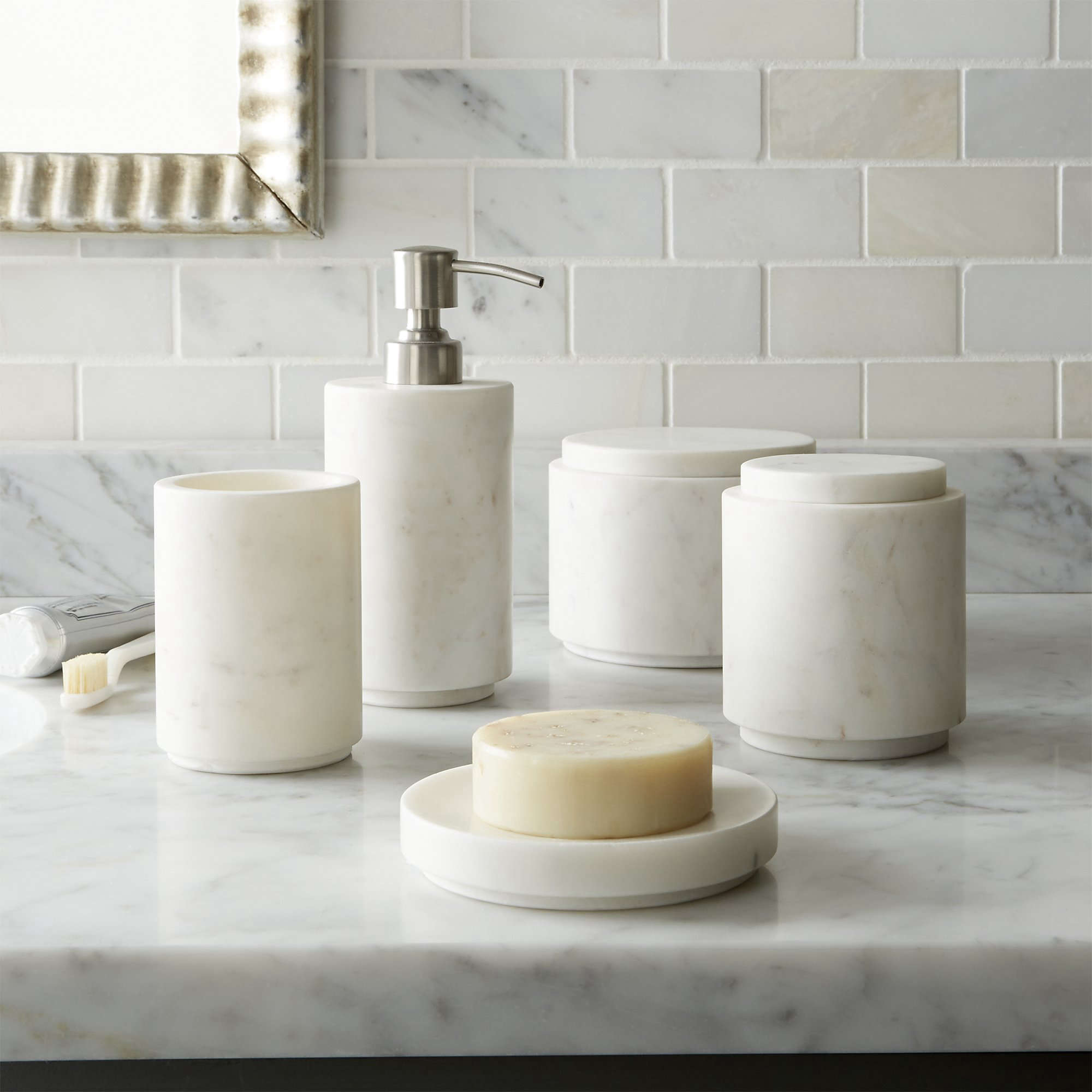 High low marble bath accessories remodelista for Popular bathroom decor