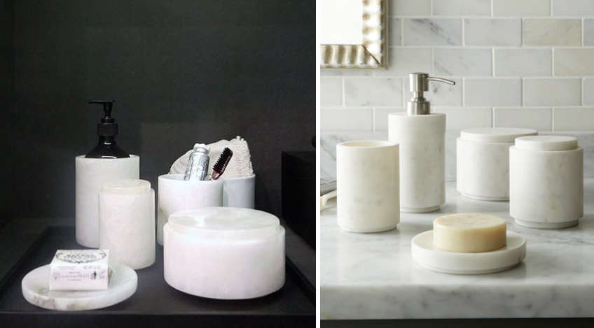 High low marble bath accessories remodelista for Marble toilet accessories