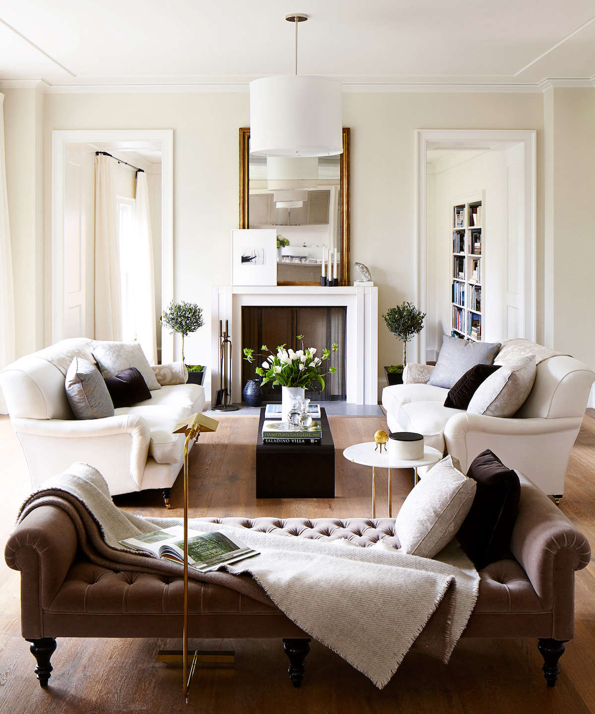 White Cream and Brown Living Room