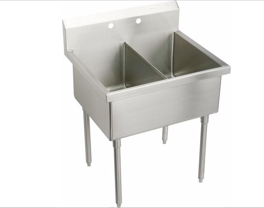 Double Bowl Laundry Tub Utility Sink : Above: From Elkay, a stainless steel Sturdibilt Scullery Sink has two ...