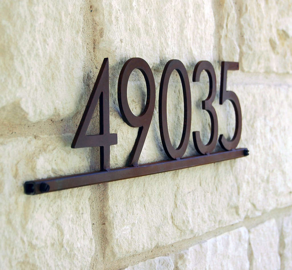 modern metal address plaque with five 5 in steel house