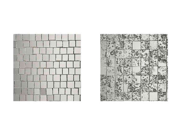 staggered roman silver glass mosaic tile