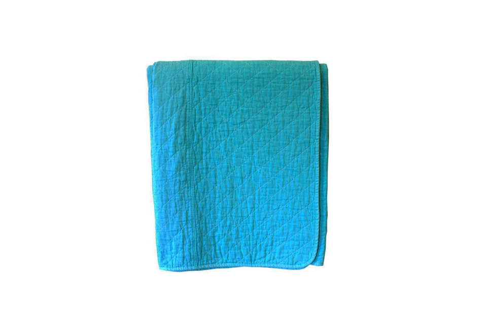 Utility Canvas Aqua Coverlet