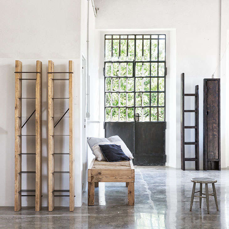 A showroom in italy where everything is made from salvaged for Used lumber los angeles