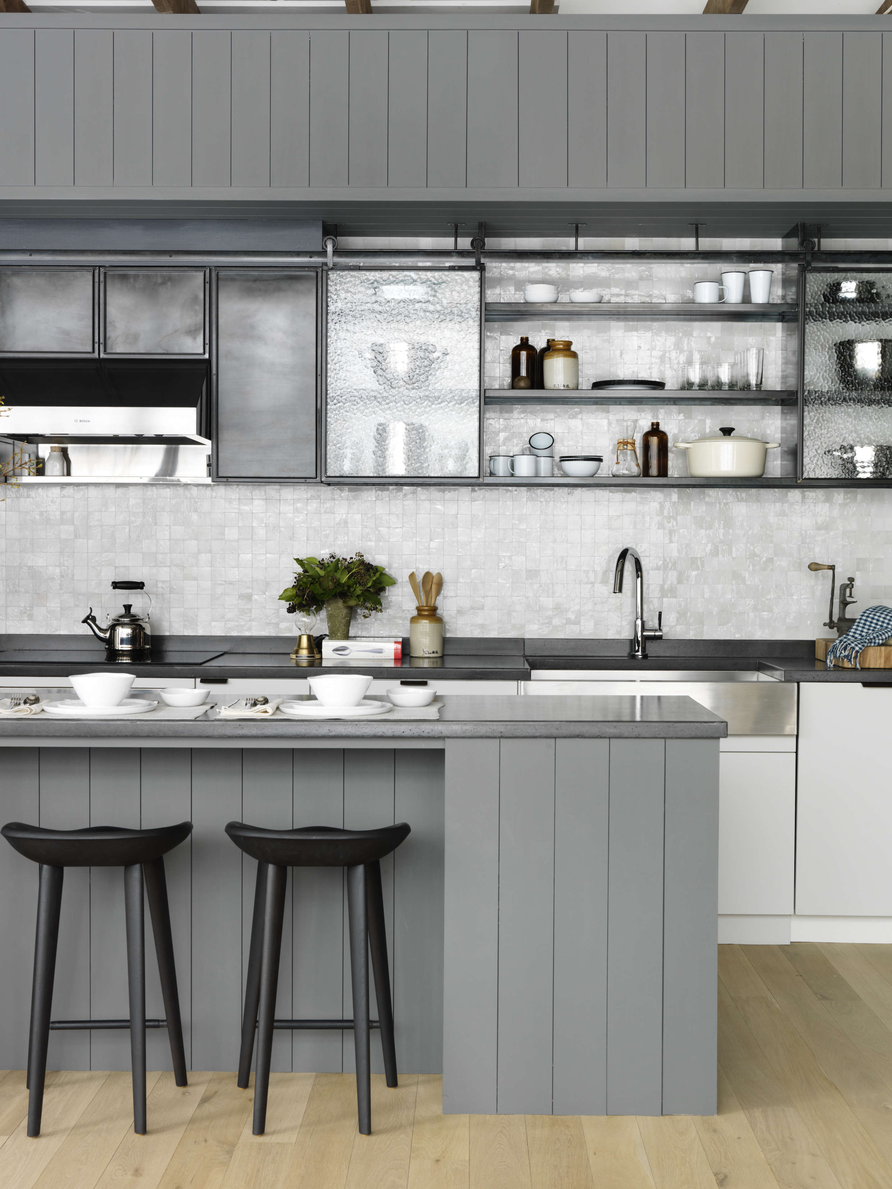Above Another Crucial Element In The Design Vocabulary Is Shiplap Paneling With A 1 6 Inch Seam Rabbet Used Here On Kitchen Island Its Painted