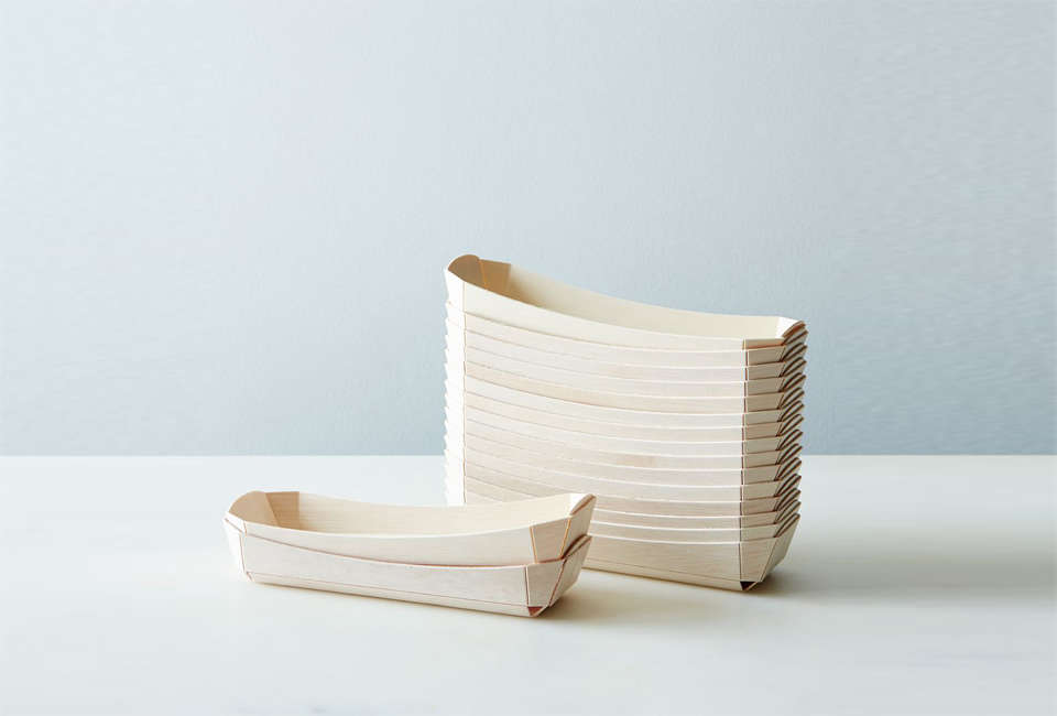 Compostable Wooden Hot Dog Trays
